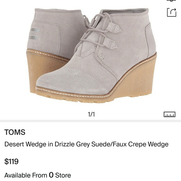 054616f9b3ffc Toms Desert Wedge Gray Suede Crepe Wedge Boots